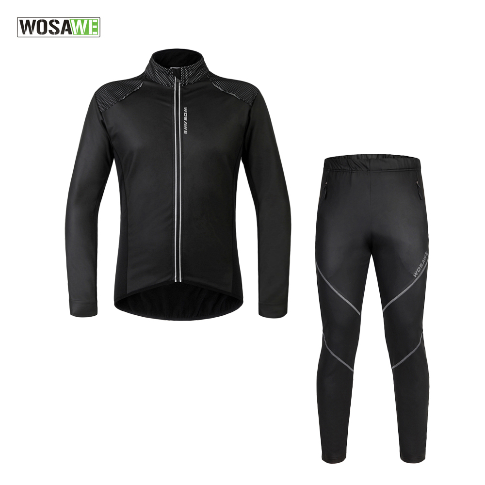 WOSAWE Men Windproof Long Sleeve Cycling Suit Bicycle Jacket + Pants Winter Fleece Thermal MTB Road Bike Wind Coat Clothing Sets veobike winter windproof thermal fleece reflective bike bicycle jersey warm cycling wind coat jackets pants set for men women