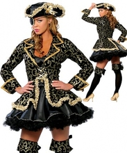 4 PCS high quality plus size Sexy Pirate costumes,women Halloween Costume with hat ,legging wear,outcoat ,dress S-3XL