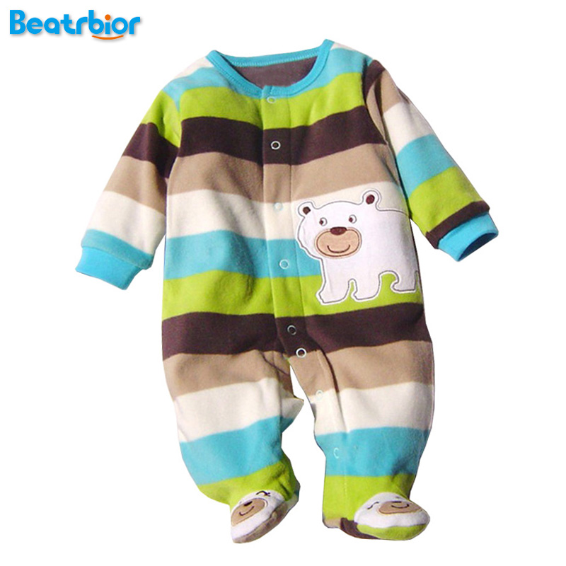 2017 Newborn Baby Clothes Polar Fleece Infant Baby Rompers Boy and Girl Long Sleeve Winter Romper Overalls Baby Clothing Set cascatto 3