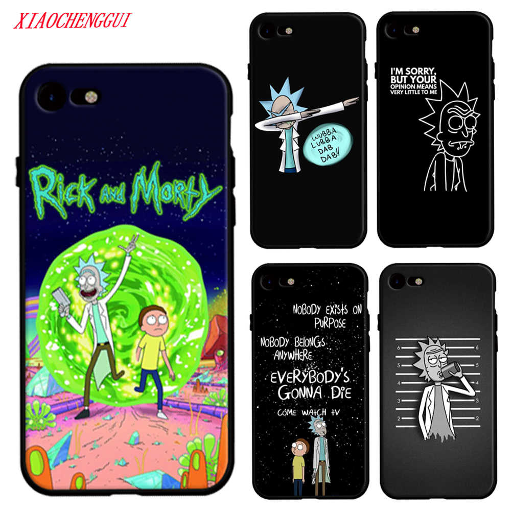 Para o iphone 7 6 x caso rick e morty temporada coque escudo caso de telefone para apple iphone 8 7 6 s plus x 5 5S s capa de silicone macio
