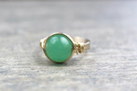Silver Wire Wrapped Green Aventurine Ring Handmade 14k Gold Filled Ring Vintage Unique Designs Gift Ideas