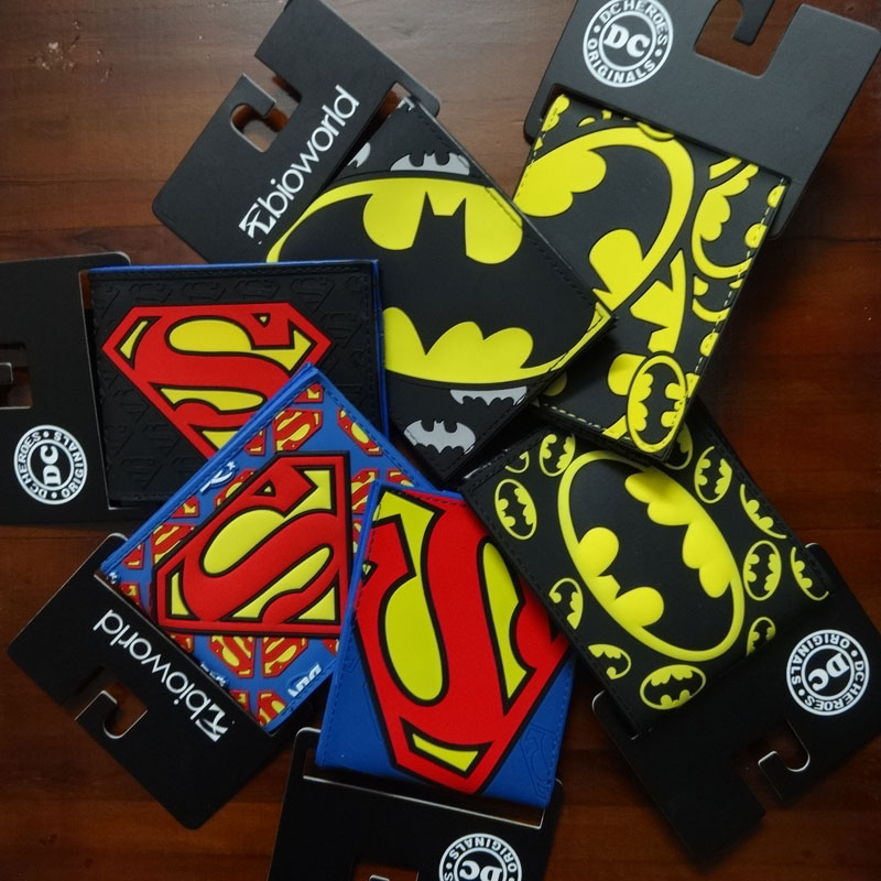 2017 New Designer Superman Batman Purse Comics DC Marvel Anime Logo Wallets Men Women Dollar Price Bags Leather PVC Short Wallet anime wallets new designer jeans wallet batman superman denim wallets young boy girls purse small money bag