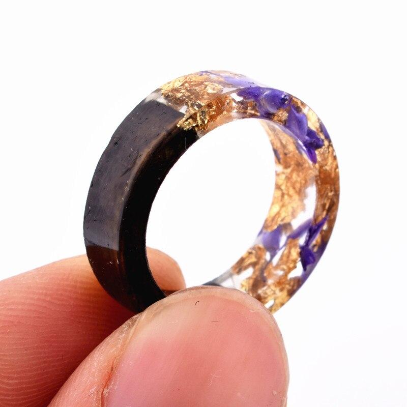 geekoplanet.com - Handmade Secret Flowers & Plants Wood Resin Ring