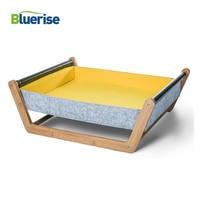 BLUERISE Cat Hammock Wooden Dog House Pet Hanging Bed Soft Sleeping Cat Bed House Cushion Mat Fashion Comfortable Wood Cat House