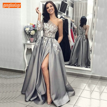 Sexy Grey Satin One Shoulder Evening Gown Long Sleeve 2019 Lady A-Line Ivory Lace Long Evening Dresses with Pockets Formal Dress