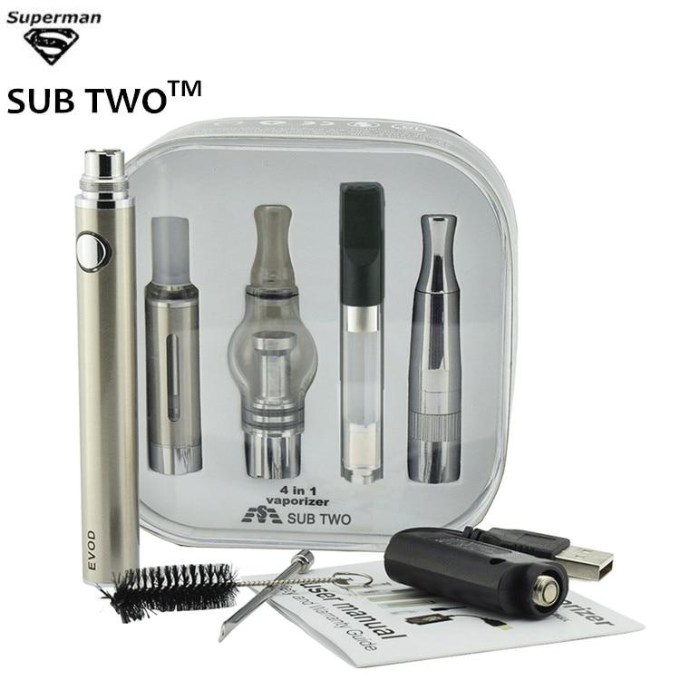SUB TWO Dry Herb Vaporizer 4 in 1 E cigarette 1100mah Evod Batery 4 Atomizers for oil Wax herb CBD oil vapor e cigarette Kit