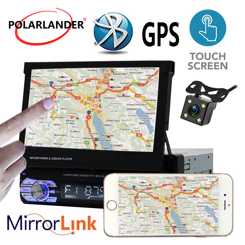 7 Touch Screen Stereo Head Unit Car Radio Bluetooth USB/AUX/SD GPS 1DIN CameraMirror Link gps магнитолу 1din