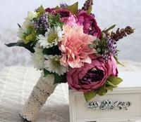 Handmade Purple Bride Wedding Bouquet Silk Flowers with Ribbon Bridal Bouquets Ramos De Novia Artificial Free Shipping CH02