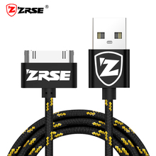 ZRSE Braided Nylon USB Cable for iPhone 4 4s Data Sync Charging Mobile Phone Cable 1M 2M 3M Metal USB Charger for iPad 2 3 Cord
