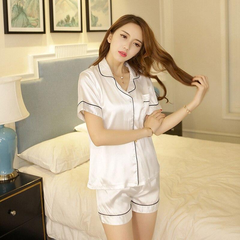 Women   Pajamas     Sets   Short-Sleeve Satin Shirt And Shorts   Pajama     Set   2019 New Solid Turn-down Collar Sleepwear Summer Nightwear