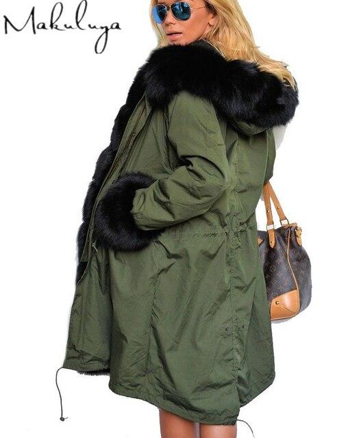 Mulheres marca de moda inverno Grande gola de pele Casaco longo casaco de pele Falso casaco de Algodão roupas MF-88-141