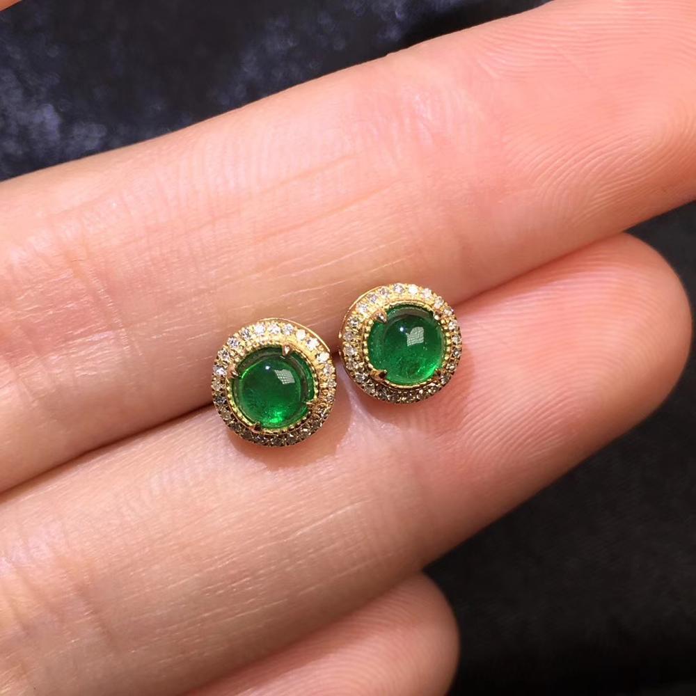 Emerald Earrigns Fine Jewelry Pure 18 K Gold Jewelry AU750 100% Natural Emerald Gemstone 0.85ct Females Stud Earrings for WomenEmerald Earrigns Fine Jewelry Pure 18 K Gold Jewelry AU750 100% Natural Emerald Gemstone 0.85ct Females Stud Earrings for Women