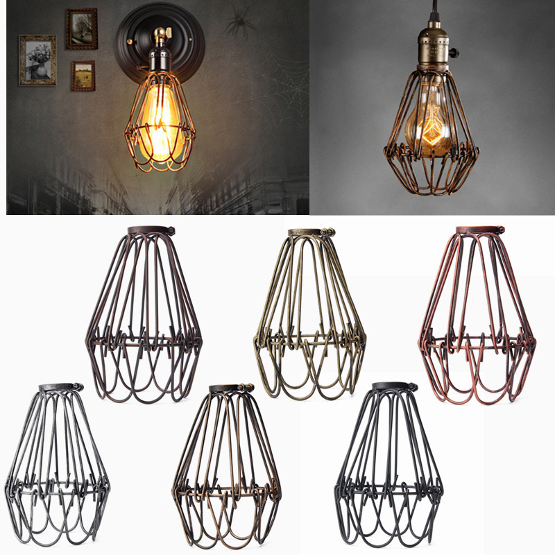 Retro vintage industrial lamp covers pendant trouble light bulb retro vintage industrial lamp covers pendant trouble light bulb guard wire cage ceiling fitting hanging bars cafe lamp shade in lamp covers shades from aloadofball Images