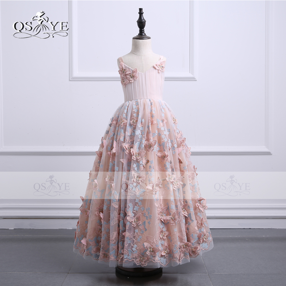 Real Photo 2018 Ball Gown 3D Floral Lace   Flower     Girl     Dress   for Wedding V Neck Bow Appliques Tulle Holy Communion   Dress   Prom Gown