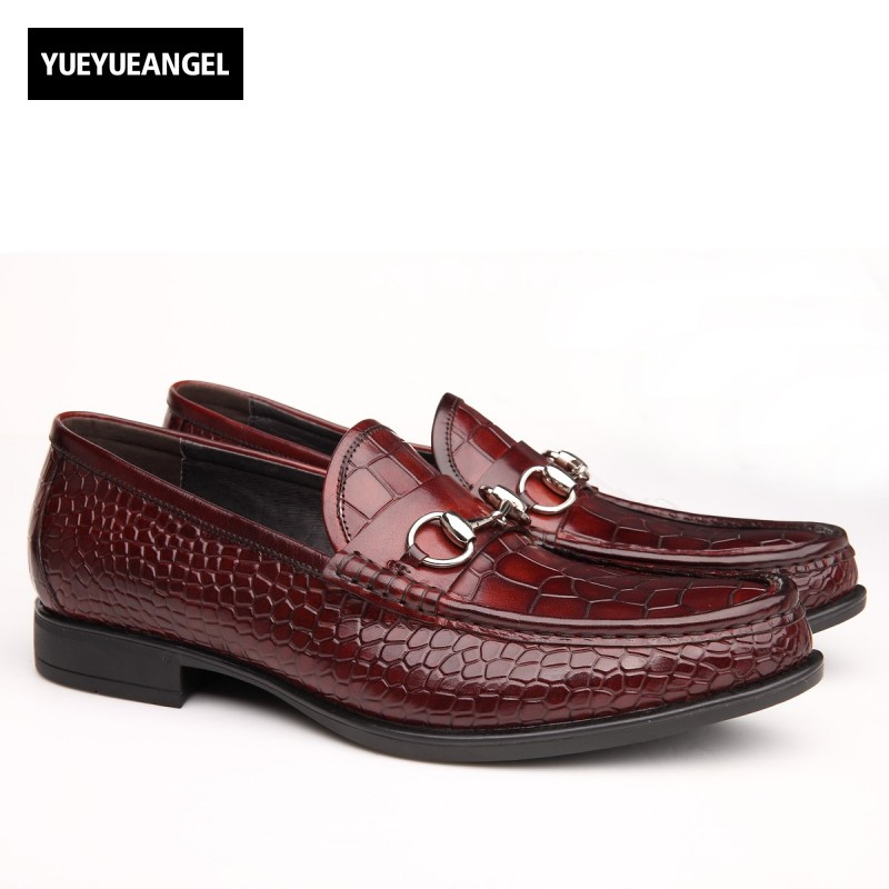 Slip On Mens Genuine Leather Formal Shoes Male Autumn New Fashion Round Toe Korean Style Black Red Sapato Masculino Ayakkabi top quality brand slip on autumn new fashion genuine leather men casual shoes male footwear british comfortable sapato masculino