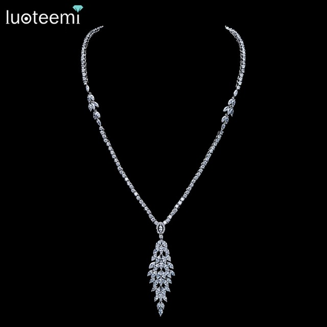 LUOTEEMI New Bridal Jewelry White Clear Cubic Zirconia Crystal Necklace for Women Reliable Wedding Accessories Bijoux Mariage