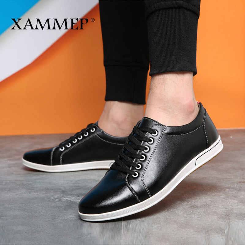 купить Men Casual Shoes Brand Men Shoes Men Sneakers Genuine Split Leather Plus Big Size 47 48 Men Flats Slip On Spring Autumn Xammep по цене 2237.68 рублей