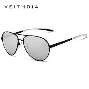 Image 5 - VEITHDIA lunettes de soleil polarisées pour hommes, lunettes de soleil de marque à la mode, en aluminium magnésium, verres miroir, lunettes pour homme