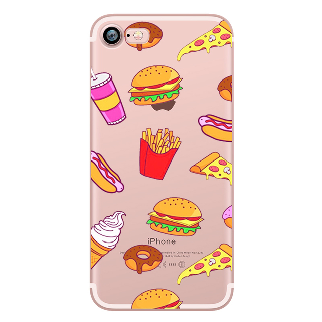 Food Donuts Chocolate Ice Cream Case for iPhone 5S 5 SE 7 8 6 6S PLUS X 10 Soft Silicone Transparent