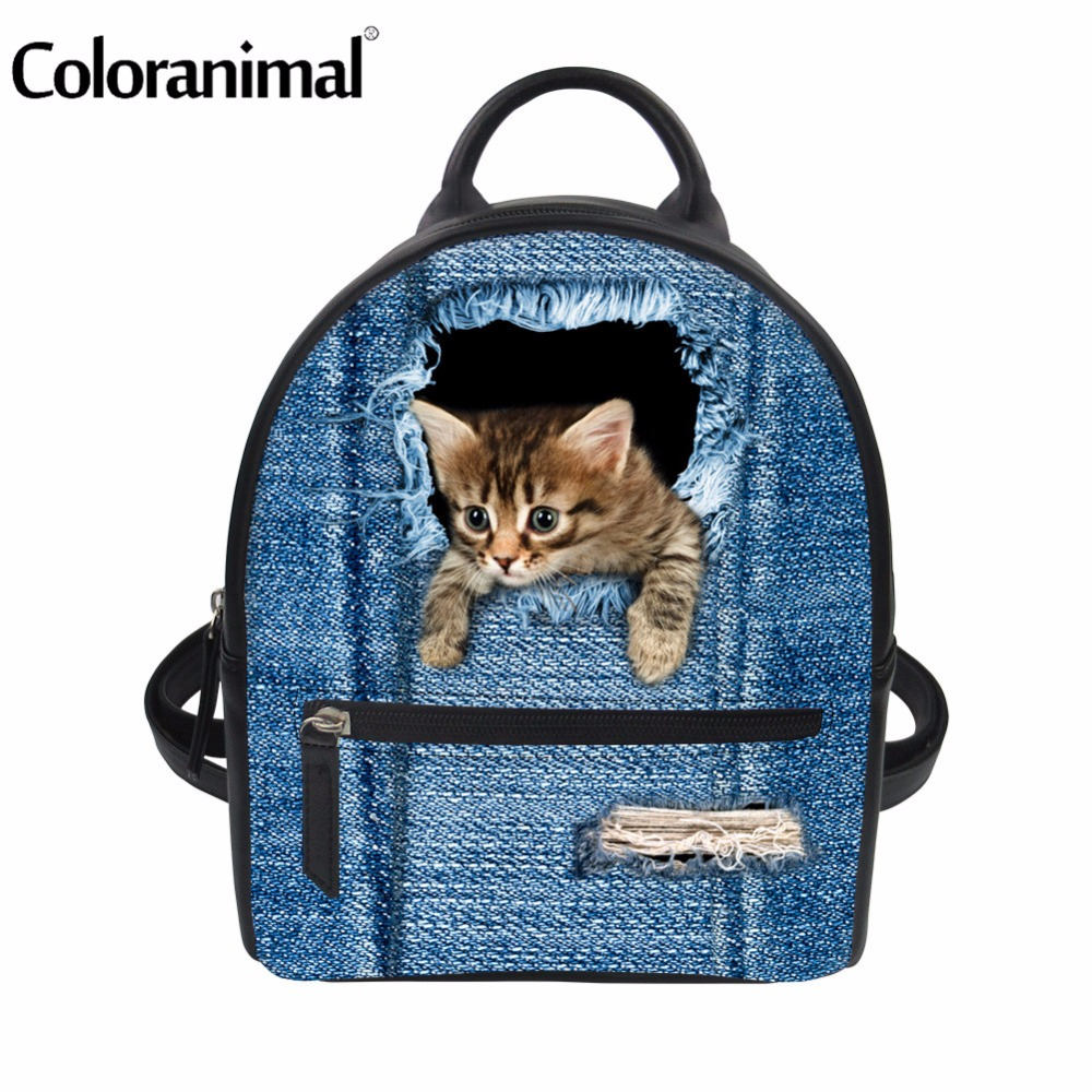 Coloranimal Women Fashion Shoulder Book Bags Cute Animal Cat Dog Pattern PU Leather School Backpack Bolsa Feminina Bags for Girl
