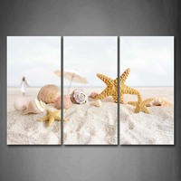 Framed Wall Art Pictures Starfish Umbrella Shell Beach Canvas Print Art Modern Posters With Wooden Frame For Living Room