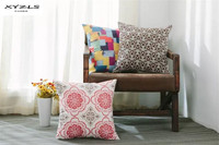 XYZLS American Style Vintage Floral Geometric Cotton Linen Cushion Cover Square Throw Pillow Cover Sofa Chair Home Car Decor