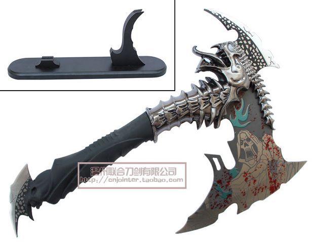 S0182 Vampire Demon Skull Dragon Fancy Axe Ax Black