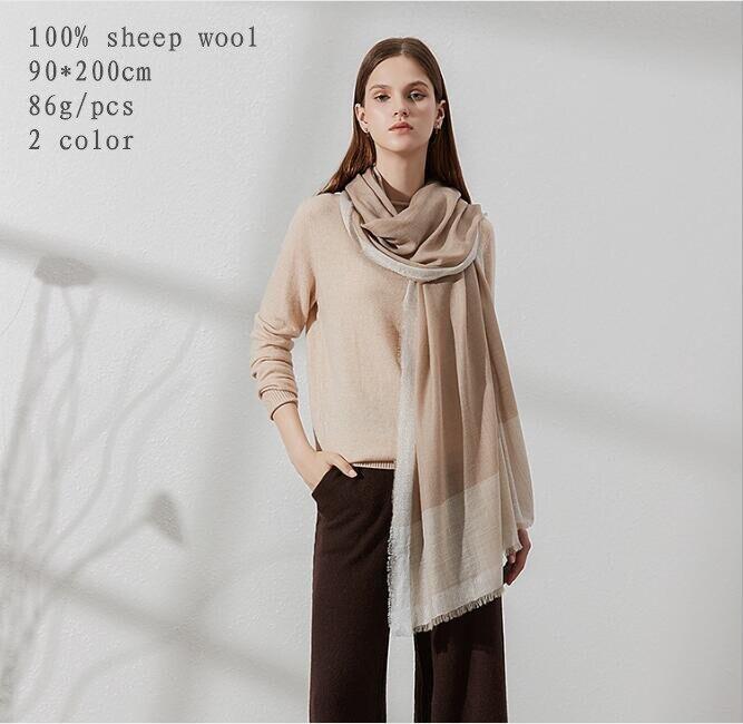 Naizaiga 100 sheep wool 90 200cm women spring luxury Silver Edgeshawl autumn fashion brand big size