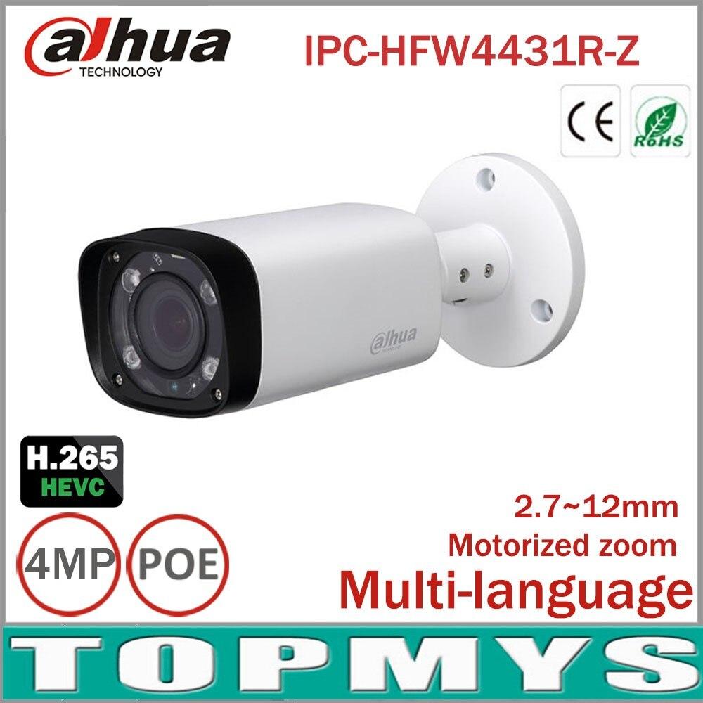 Dahua 4mp Caméra IP IPC-HFW4431R-Z avec 2.7 ~ 12mm VF objectif Motorisé Zoom Autofocus 80 m IR Gamme jour Nuit Caméra Bullet