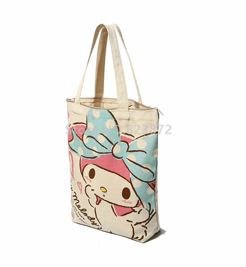 a0af181bc ... Cute Hello Kitty My Melody Canvas Shoulder Bags Reusable Shopping Bag  Zipper Women Tote Handbag Cartoon