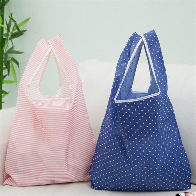 طوي البوليستر حقيبة تسوق سوبر ماركت طباعة صديقة للبيئة قابلة لإعادة الاستخدام المحمولة حقيبة يد البقالة السفر حقيبة التخزين
