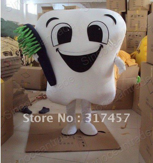 Tooth with Toothbrush Mascot Costume Animal mascot costume Free Shipping image