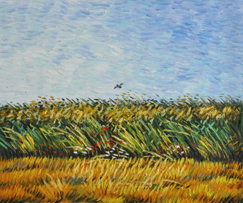 Handmade Landscape Oil Painting Reproduction on Canvas Vincent Van Gogh Wall Art Edge of a Wheat Field with Poppies and a Lark