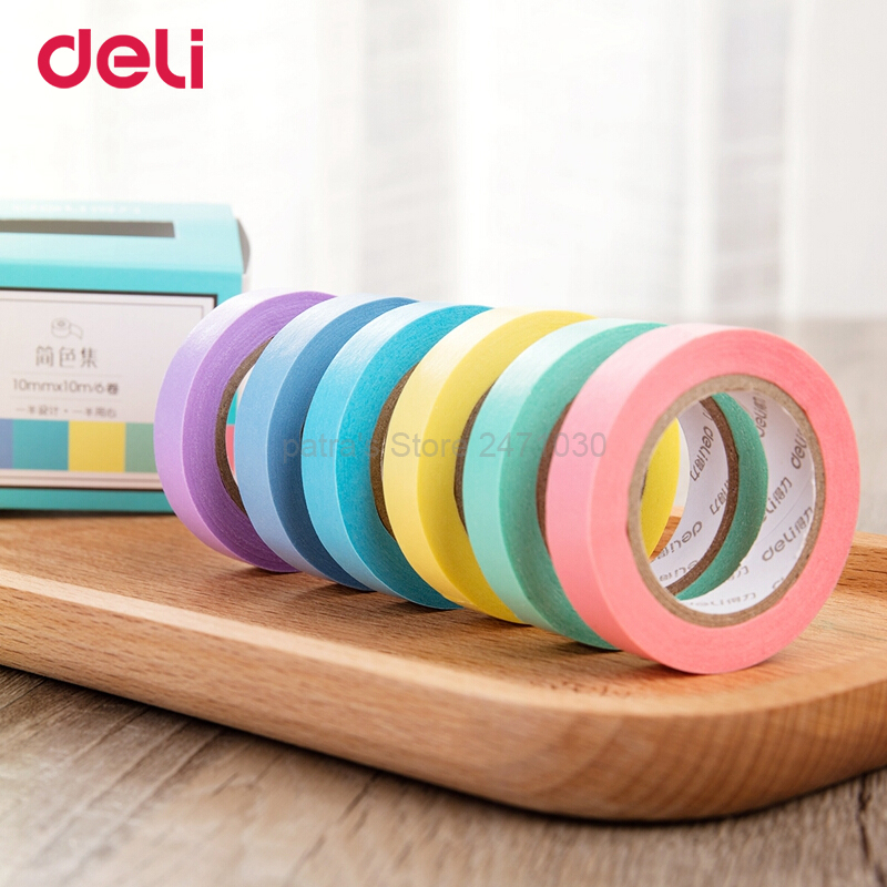 Купить с кэшбэком Deli Washi Masking Tape Set Creative Colorful Decorative Tape Diary Scrapbooking DIY Craft Sticky Label Stationery School Supply