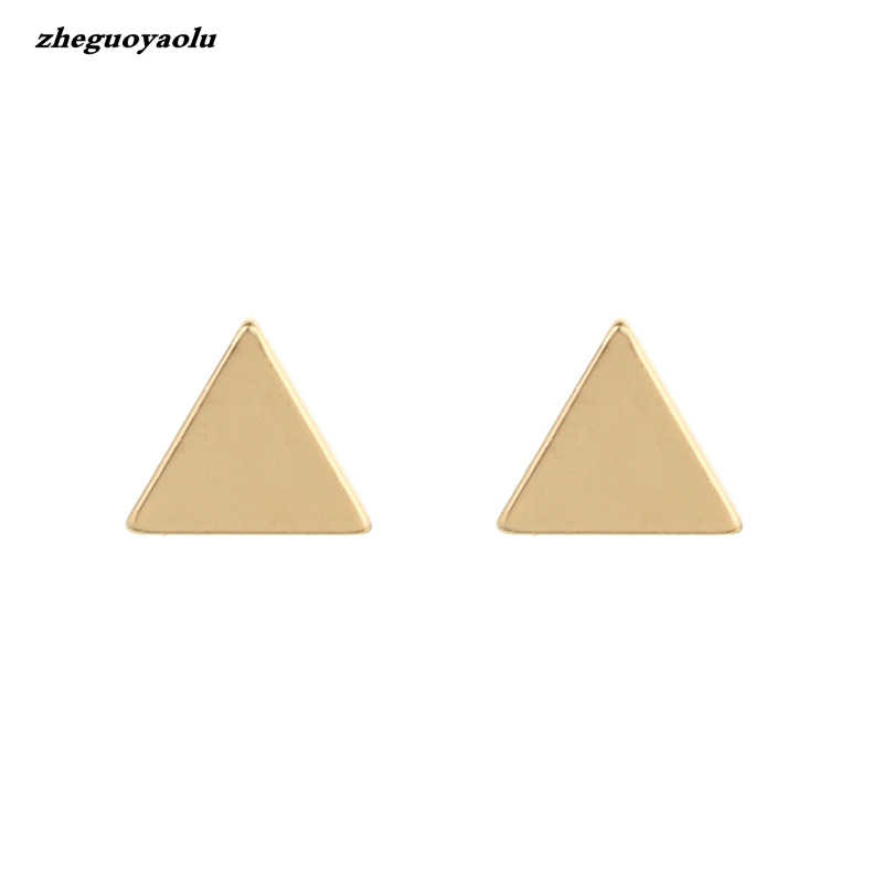 3 Colors Punk Rock Female Jewelry Accessories Geometric Small Triangle Stud Earrings For Women Brincos Pendientes Mujer