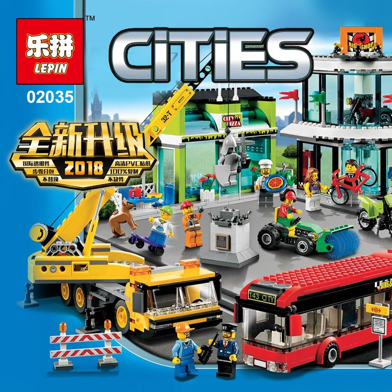 Lepin 02035 Kid Toys 1024Pcs City Series The 60026 Town Square Set Building Blocks Bricks New Educational Toys For Kids As Gifts