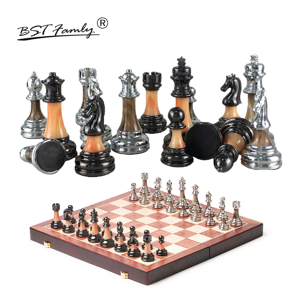 BSTFAMLY Plastic Chess Set International Chess Game High-grade Folding Chessboard ABS Steel Chess Pieces Chessman Gift Toy I51 bstfamly chess set abs plastic plating process and metal aggravation chess pieces high grade king height 90mm chess game la100