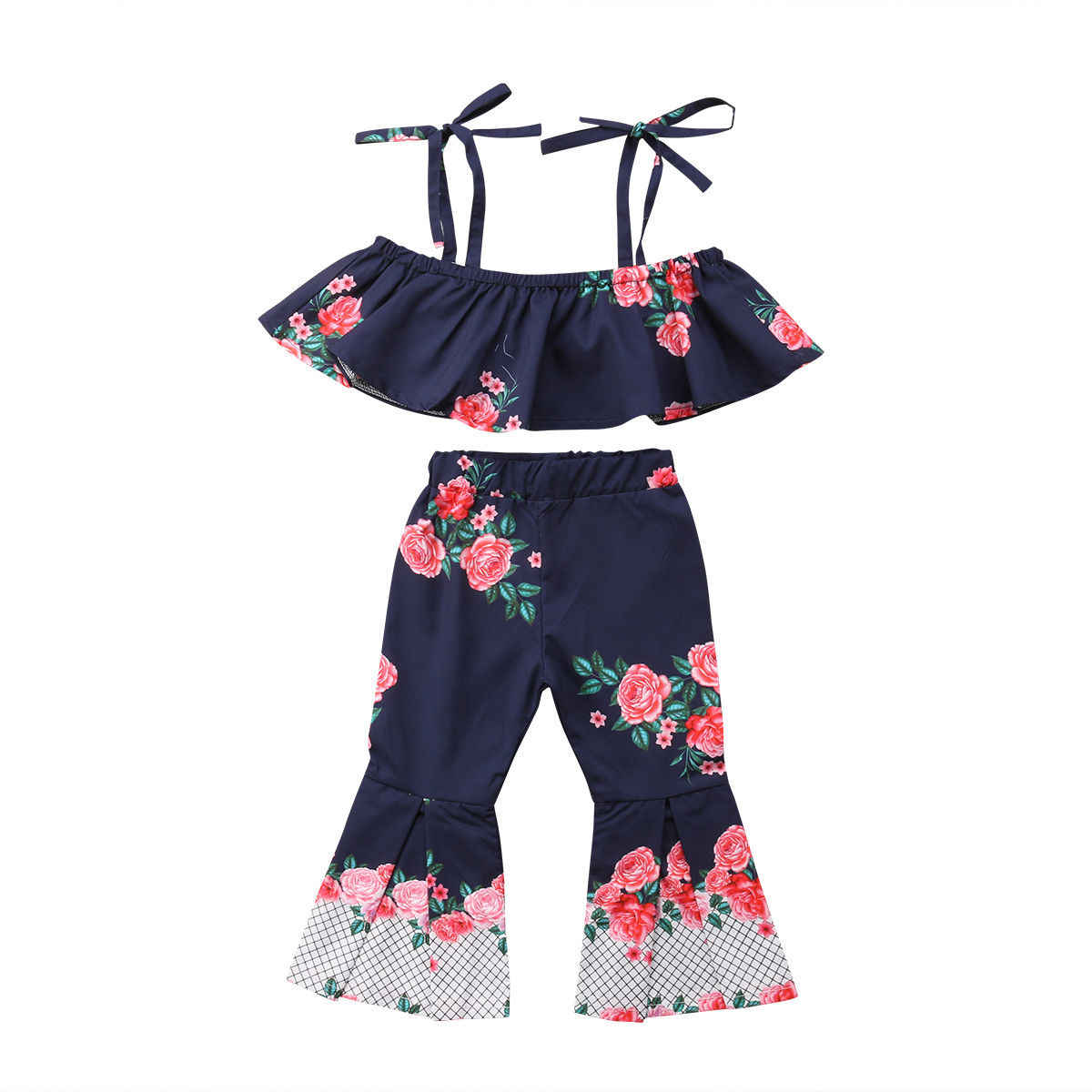 fa6904105959d 2PCS Toddler Baby Girls Summer Flower Clothes Strap Crop Tops+Bell bottom  Flared Pant Outfits