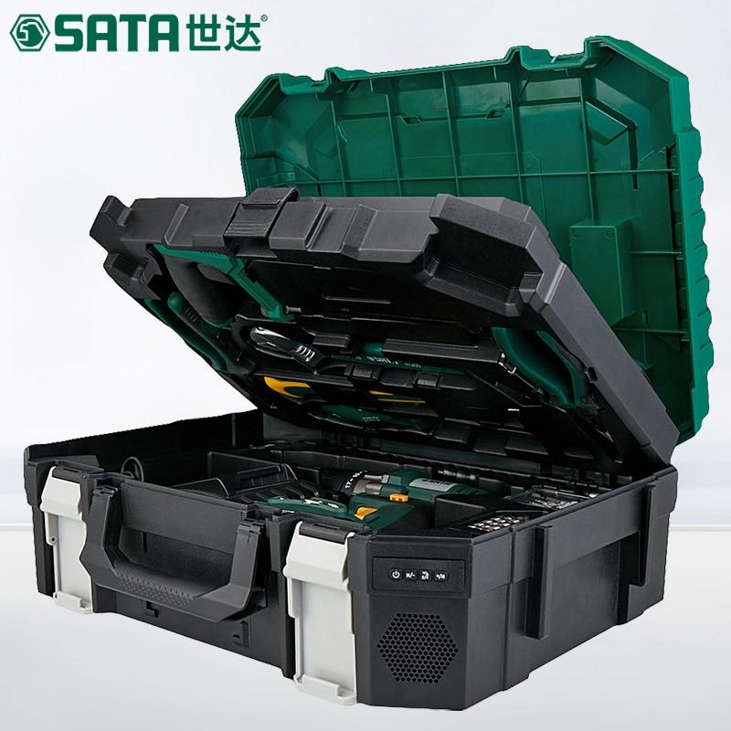 SATA 88pcs Electric household hardware toolbox, multi purpose electrician woodworking repair kit, hand drill 05152