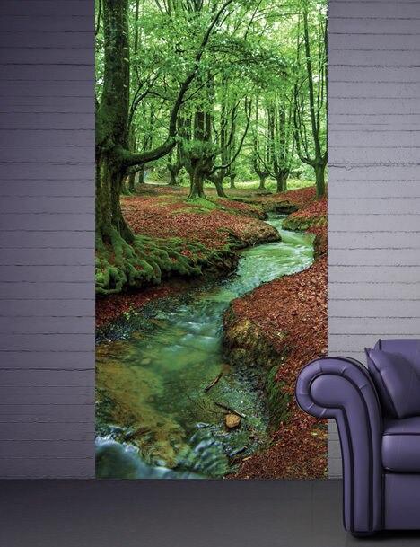 DIY 3D Wall Sticker Mural Home Decor Forest Brook Removable Door Sticker  Decole 77*200cm