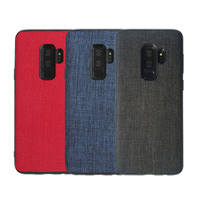 Vintage Canvas Fabric Case For Samsung Galaxy S9 S8 Plus A6 J8 Business Soft Silicone Cover Note 9 8
