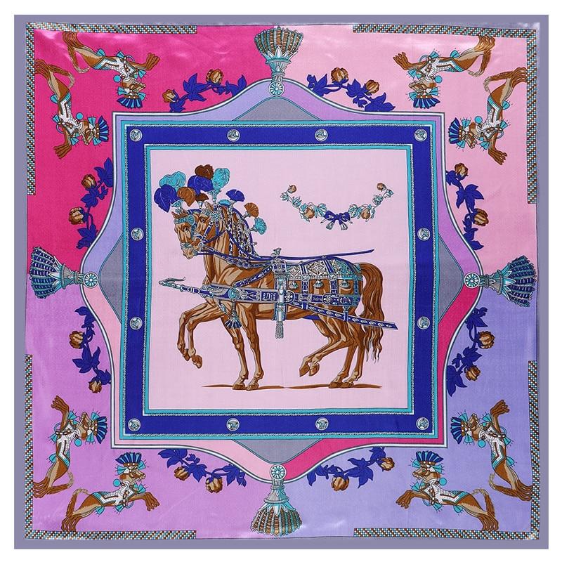POBING Luxury Horse Print Hijab Women Satin Silk Scarf Shawl Foulard Femme Square Head Scarves Wraps 90*90CM(China)