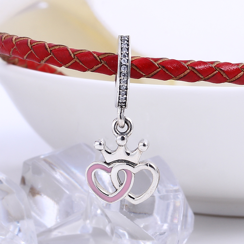 New 100% 925 Sterling Silver Fit Original Pandora Bracelet Enamel Crowned Hearts Pendant DIY Charms Beads for Jewelry Making