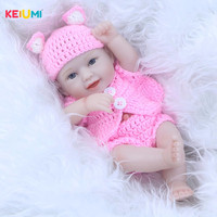11 Inch Mini Doll Reborn Babies Full Silicone Vinyl Body Lifelike Newborn Dolls Realistic Boy Baby Toys Children Birthday Gifts
