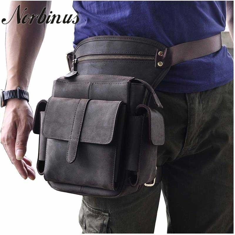 Norbinus Genuine Leather Shoulder Bags Men Cowhide Drop Leg Bag Travel Messenger Bag Male Motorcycle Hip Belt Waist Fanny Pack