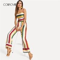 COLROVIE Striped Crop Cami Top Wide Leg Pants Set 2018 Summer Spaghetti Strap Sleeveless Women Sets