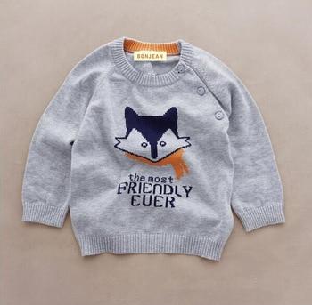 d99b5babf ... YLiYX042 venta al por menor nuevo 2016 otoño bebé niño suéter Dobby Fox  Color gris niño suéter tejido sudadera niños ropa CasualNosotros  $16,98/Pieza ...