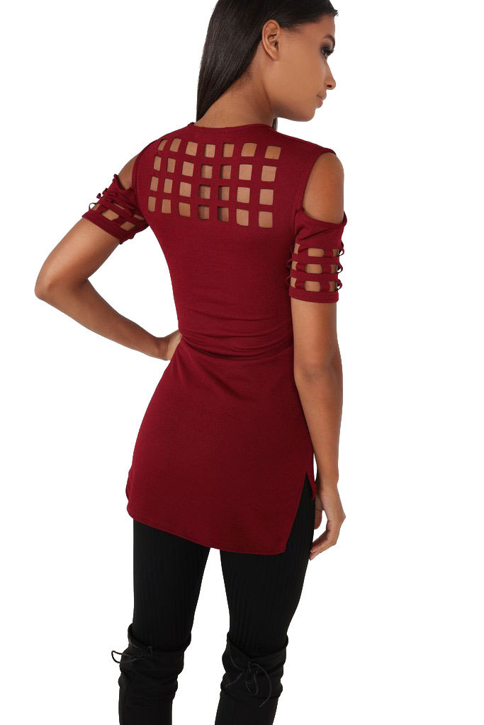 4 Colors Women's Short Sleeve Shirts Tops Bodycon Hollow Out Block Cold Shoulder Cotton Shirts Slim Blusa Feminino LX235 13