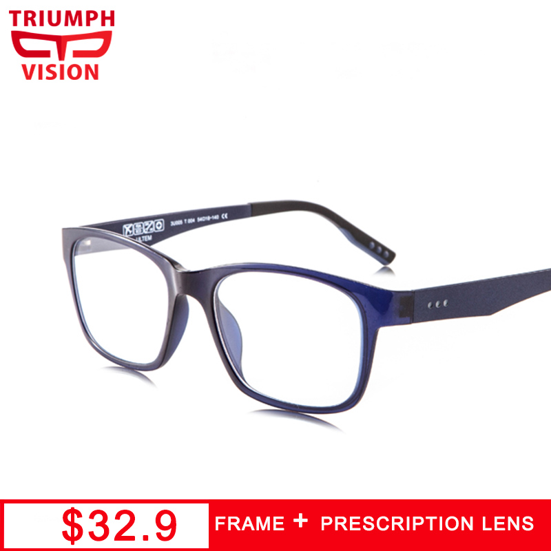 TRIUMPH VISION Loyal Blue Diopter Glasses for men Square Clear Progressive Optical Eyewear Prescription Eye Glasses Ultra Light