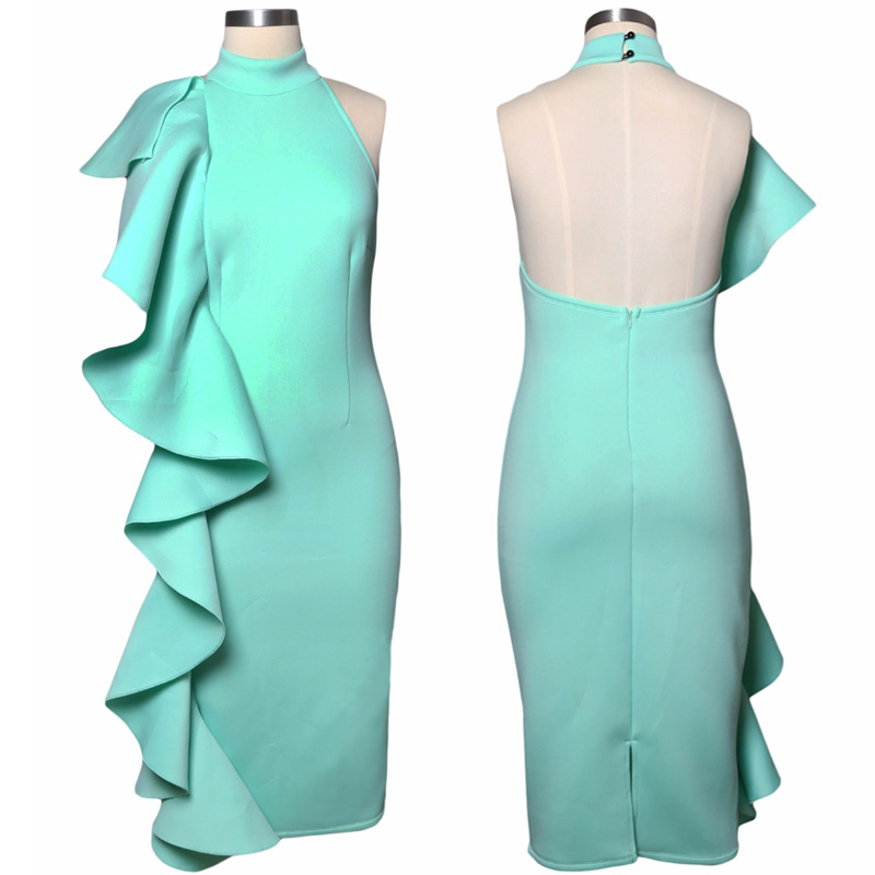 ADEWEL 2017 Women Big Ruffles Midi Elegant Dress Sexy Open Back Bodycon Party Dress High Neck Vintage Pencil Dress 7
